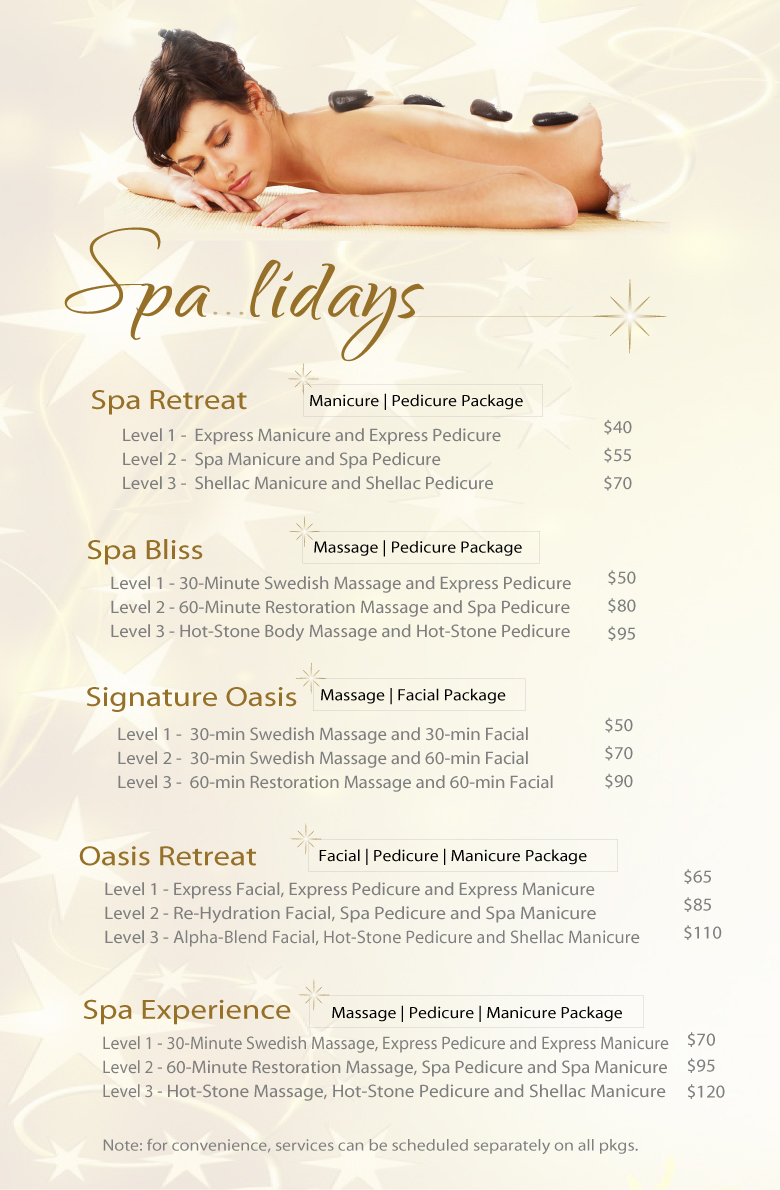 Christmas spa packages signatures salon and day spa for 12 days of christmas salon specials